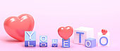 Love for Valentine's day on purple Background and Love you too with flipping cubes block.banner,Copy Space,greeting card - 3d rendering