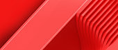 Creative idea. Abstract Background. Wavy stripes paper cut and Geometry shape concept for futuristic on Red. presentation, banner, Copy space, Card- 3d rendering