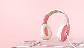 Music Online player Idea Concept and Headphones on Pink background. download and listening, Minimal, Copy space for banner -3d Rendering