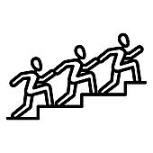 People run up the stairs each other. Co-achievement goal. Competition, rivalry, race for success. Vector icon, outline, isolated.