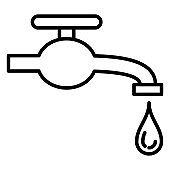 Water tap, shut-off valve, leak from the pipe. Symbol of purity, water supply. Icon, vector, isolated, outline, 48x48 pixel.