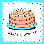 Vector illustration of birthday cake