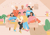 Group portrait of friends at home party