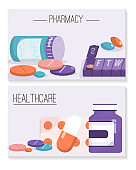 Banners set of Pharmacy and Healthcare concept