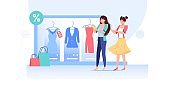 Flat cartoon girl characters trying new dress outfit,fashion shopping vector illustration concept