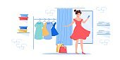 Flat cartoon girl character trying new dress outfit,fashion shopping vector illustration concept
