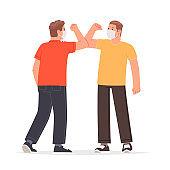 Elbow greetings during the coronavirus pandemic. Masked people greeting gesture when meeting