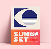 Summer sunset beach party minimalist design template with eye with sunset silhouette and typographic composition. Vector illustration