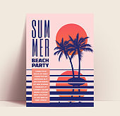 Summer beach party minimalistic flyer or poster or banner design template with sunset above the ocean and small island with palm tree silhouette. Vector illustration