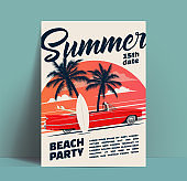 Summer beach party poster or flyer or invitation design template with cartoon retro cabriolet car with surfboards on sunset background. Vector illustration