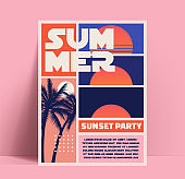 Summer sunset or summer beach party flyer or poster or banner design template in retro style with footage of the setting sun and palm trees silhouette. Vector illustration