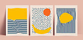 Trendy minimalistic abstract hand drawn background set with nature motives and summer vibes. Vintage styled vector illustration