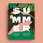 Summer poster or flyer or cover design template with earth colored floral and lettering composition for summer party or event or seasonal food menu cover. Vector illustration