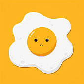 Fried egg on yellow background, top view.