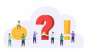 People standing near a question and exclamation mark ask  questions, looking answers around big question mark, online communication.