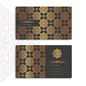 Black and gold vintage business card. Luxury vector ornament template. Great for invitation, flyer, menu, background, wallpaper, decoration, packaging or any desired idea.