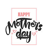 Handwritten brush lettering of Happy Mother's Day with pink hearts on white background.