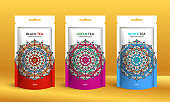 Colorful tea packaging design with zip pouch bag mockup. Vector ornament template. Elegant, classic elements. Great for food, drink and other package types. Can be used for background and wallpaper.
