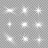Shining sun, bright flash star, white light.