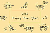 2022 Year of the Tiger Simple and cute illustration of a tiger