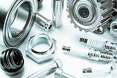 Car engine parts. Auto motor mechanic spare or automotive piece on white background. Set of new metal car part. Automobile engine service.