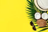 Summer lifestyle on yellow background