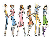 Hand drawn stylish illustration fashion design.Collection of stylish young women dressed in trendy clothes.Set of fashionable casual and formal outfits. Sketch vector illustration