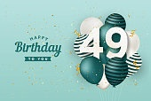 Happy 49th birthday with green balloons greeting card background.