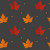 Seamless pattern with maple leaves on grey background. Abstract autumn texture. Design for fabric, wallpaper, textile and decor.