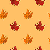 Seamless pattern with maple leaves on yellow background. Abstract autumn texture. Design for fabric, wallpaper, textile and decor.