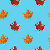 Seamless pattern with maple leaves on blue background. Abstract autumn texture. Design for fabric, wallpaper, textile and decor.