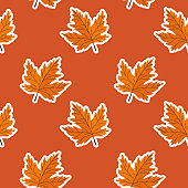 Seamless pattern with maple leaves on red background. Abstract autumn texture. Design for fabric, wallpaper, textile and decor.