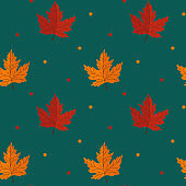 Seamless pattern with maple leaves on green background. Abstract autumn texture. Design for fabric, wallpaper, textile and decor.