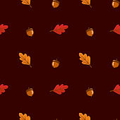 Seamless pattern with leaves and acorn on red background. Abstract autumn texture. Design for fabric, wallpaper, textile and decor.