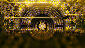 Abstract future technology vision design innovation concept. Science fiction futuristic 3D illustration background. Sci fi technology pattern hall room with lights and circle shaped golden neon light