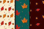 Set of autumn seamless patterns. Abstract autumn texture. Design for fabric, wallpaper, textile and decor. Background with leaves, acorns.