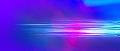 Blue fantastic camera movement. Abstract graphical motion blur background. Horizontal lines and strips 3D illustration