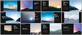 Presentation design vector templates, multipurpose template for presentation slide, brochure cover, report. Fog, sunrise in morning and sunset in evening. Nature landscape backgrounds with mountains.