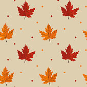 Seamless pattern with maple leaves on beige background. Abstract autumn texture. Design for fabric, wallpaper, textile and decor.