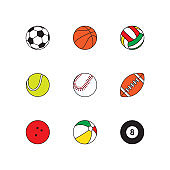 set of thin line balls icons on white background. simple vector logo art for tournament illustration and sport apps. eps 10