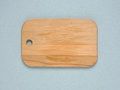 Top view of a wooden cutting board