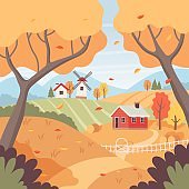 Autumn rural landscape with trees, fields, houses and windmill. Countryside landscape. Vector illustration in flat style