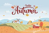 Autumn rural landscape with hand drawn lettering. Countryside landscape with houses and windmill. Vector illustration in flat style