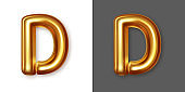Metallic gold alphabet letter symbol - D. Vector