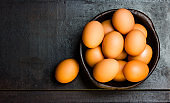 Eggs in clay bowl on black background