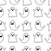 Halloween seamless black and white pattern with creepy ghosts in cartoon doodle style. Vector illustration background.