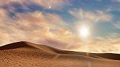 Sand dunes in abstract desert landscape at sunset