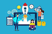 Business start up launch, project planning and management, opening of a new online startup, creative idea, cartoon people launch rocket from tablet