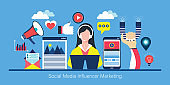 Social media influencer marketing concept