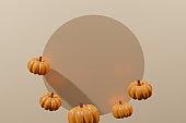 3d render of orange pumpkin frame with a beige circle